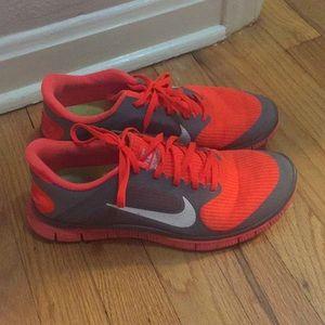 Nike free 4.0 orange and gray worn